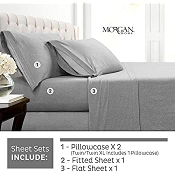 Morgan Home Cotton Rich T-Shirt Soft Heather Jersey Knit Sheet Set - All Season Bed Sheets, Warm and Cozy (King, Heather Grey)