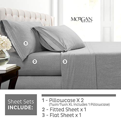 Morgan Home Cotton Rich T-Shirt Soft Heather Jersey Knit Sheet Set - All Season Bed Sheets, Warm and Cozy (Full, Heather Grey)