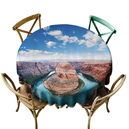 one1love Custom Tablecloth Room Decorations Collection Horse Shoe Bend North Rim Grand Canyon Page Arizona USA Famous Tourist Attractions High-end Durable Creative Home 43 INCH Sandy Brown -