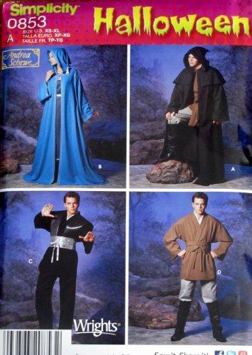 Simplicity Halloween Patterns 0853 (Size XS-XL) Men's & Teens Robe & Tunic