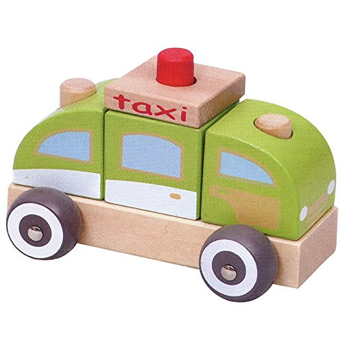 London-Kate Wooden Taxi Car Block Set - Stacking Car Blocks ()