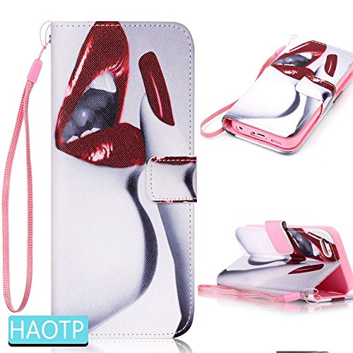 Galaxy S3 Case,HAOTP(TM) Beauty Luxury Fashion PU Flip Stand Credit Card ID Holders Wallet Leather Case Cover for Samsung Galaxy S3 (Sexy Girl Lips Nail Art) (Sexy Galaxy S3 Case)