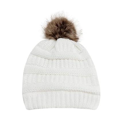 LuckES Mujer Beret Sombrero hecho punto Mantener Caliente Cap Multicolor Moda  invierno sombreros sombrero hecho punto 394b37cf2228