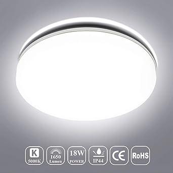 Deckenlampe Bad LED, Deckenleuchte Bad, Öuesen 18W LED Deckenlampe Kaltweiß  LED Badezimmer Badezimmerlampe Wohnzimmer Bad Schlafzimmer Balkon ...