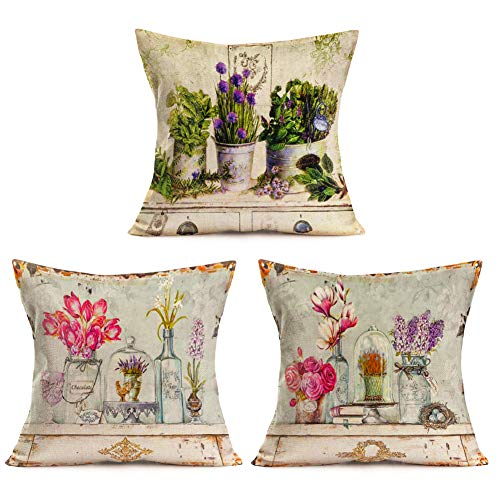 (Asminifor Colorful Flowers in Rustic Vase with Retro Wood Table Background Printed Cotton Linen Pillowcase Cushion Cover Set of 3 for Home Sofa Decorative Throw Pillow Case 18