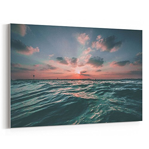 Westlake Art - Sunset Ocean - 12x18 Canvas Print Wall Art - Canvas Stretched Gallery Wrap Modern Picture Photography Artwork - Ready to Hang 12x18 Inch (BB1F-D1426)