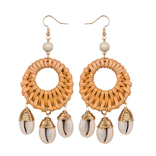 ASELFAD Handmade Woven Natural Shell Wicker Braid Rattan Dangle Earrings for Women Boho Hawaii Vacation Beach Party Statement Earrings with Gift Box (Circle_Brown)