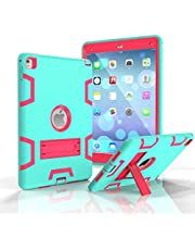 Defender ScretchProof Hybrid Heavy Duty Shockproof Kickstand Smart Case Cover For IPad AIR 2 AIR 6 Aqua -Rose Red