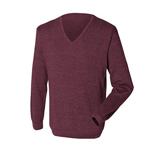 Hombre Pico Punto Piedra Henbury Jersey Cuello Gauge Caballero Fine sweater 12 Gris 4F4xT8