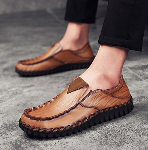 Décontractées Marron de Cuir Fendu Mode Chaussures Hommes Chaussures Mocassin Conduite Flâneurs Yiiquan PU Bateau qYOPxw