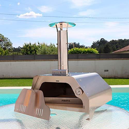 Brasaovens Horno Pizza de leña para Exterior portátil Acero Inoxidable con Pala de Pizza y Funda de protección.