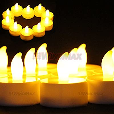 Christmas Deal! US Seller 20pcs Yellow Color Flameless Wedding Tea Light Tealight Christmas Party Deco LED Candle Indoor Candles Lights Tealight Decorative Remote Control RC