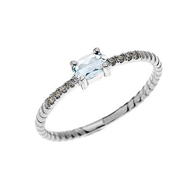 Damen Ring Verlobungsring 14 Karat Weissgold Solitar Oval Aquamarin
