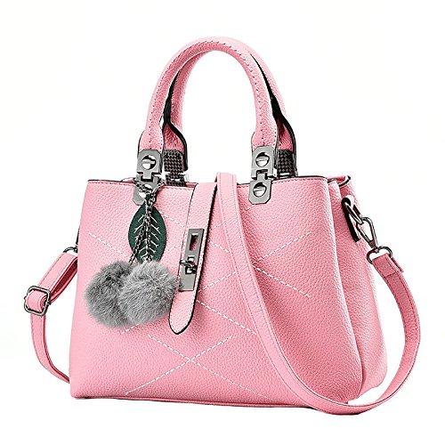 YXLONG Explosion Ladies Handbags Paquete Diagonal De Un Solo Hombro para El Comercio Exterior Bolsas Coreanas De Ocio,Black-29*13*21cm Pink