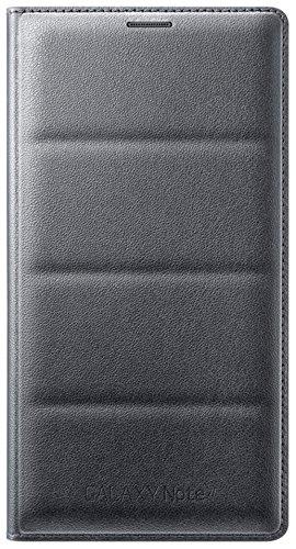 Samsung Flip Wallet Case Cover Schutzhülle in Stepp-Optik mit Kartenfach für Samsung Galaxy Note 4 - Kohle