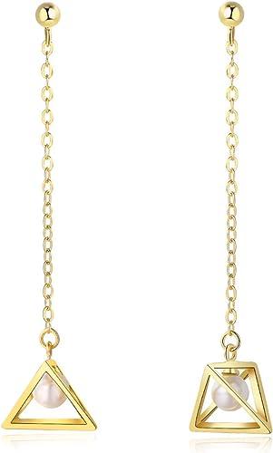 Women/'s Girl/'s 925 Sterling Solid Silver Triangle Drop Dangle Stud Earrings