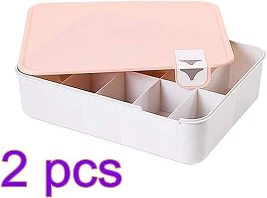 TOPBATHY - 2 cajas de almacenamiento de plástico para ropa interior o dormitorio, con 10 compartimentos: Amazon.es: Hogar