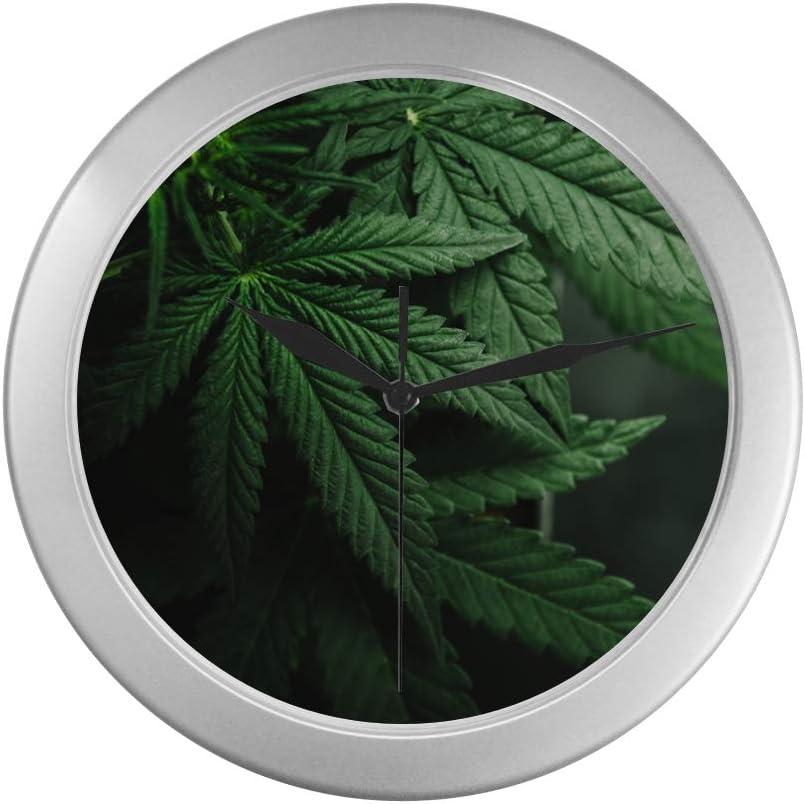 JOCHUAN Reloj de Pared para Mujer Hojas de Marihuana Cannabis On Dark Office Reloj de Pared 9.65 Pulgadas Marco de Cuarzo Plateado Decoración para Oficina/Escuela/Cocina/Sala de Estar/Dormitorio