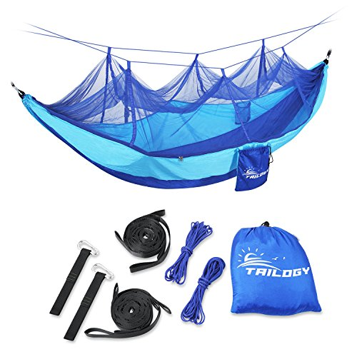 Camping Hammock with Mosquito Net,Lightweight Nylon Portable Double Parachute Hammocks,including Suspension Strap,for Indoor,Outdoor,Hiking,Camping,Backpacking,Travel, Beach, Yard (4 Expedition Weight Zip)