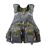 Lixada Fly Fishing Vest,Fishing Safety Life Jacket Breathable Polyester + Mesh Design Fishing Vest for Swimming Sailing Boating Kayak Floating