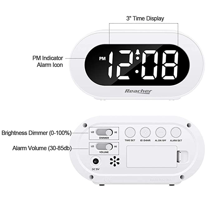 Reacher Small LED Digital Alarm Clock with Snooze, Simple to Operate, Full Range Brightness Dimmer, Adjustable Alarm Volume, Outlet Powered Compact ...