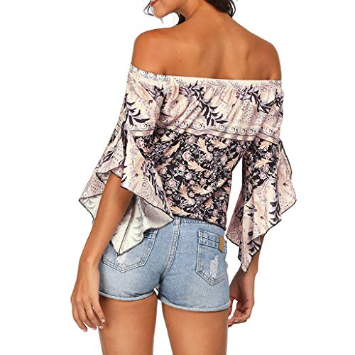 Femme Femme Jutoo Top Sunscreen Beige Epaules Shirt Plage Style Manches Trompette Blouse National T 4qqawtRE