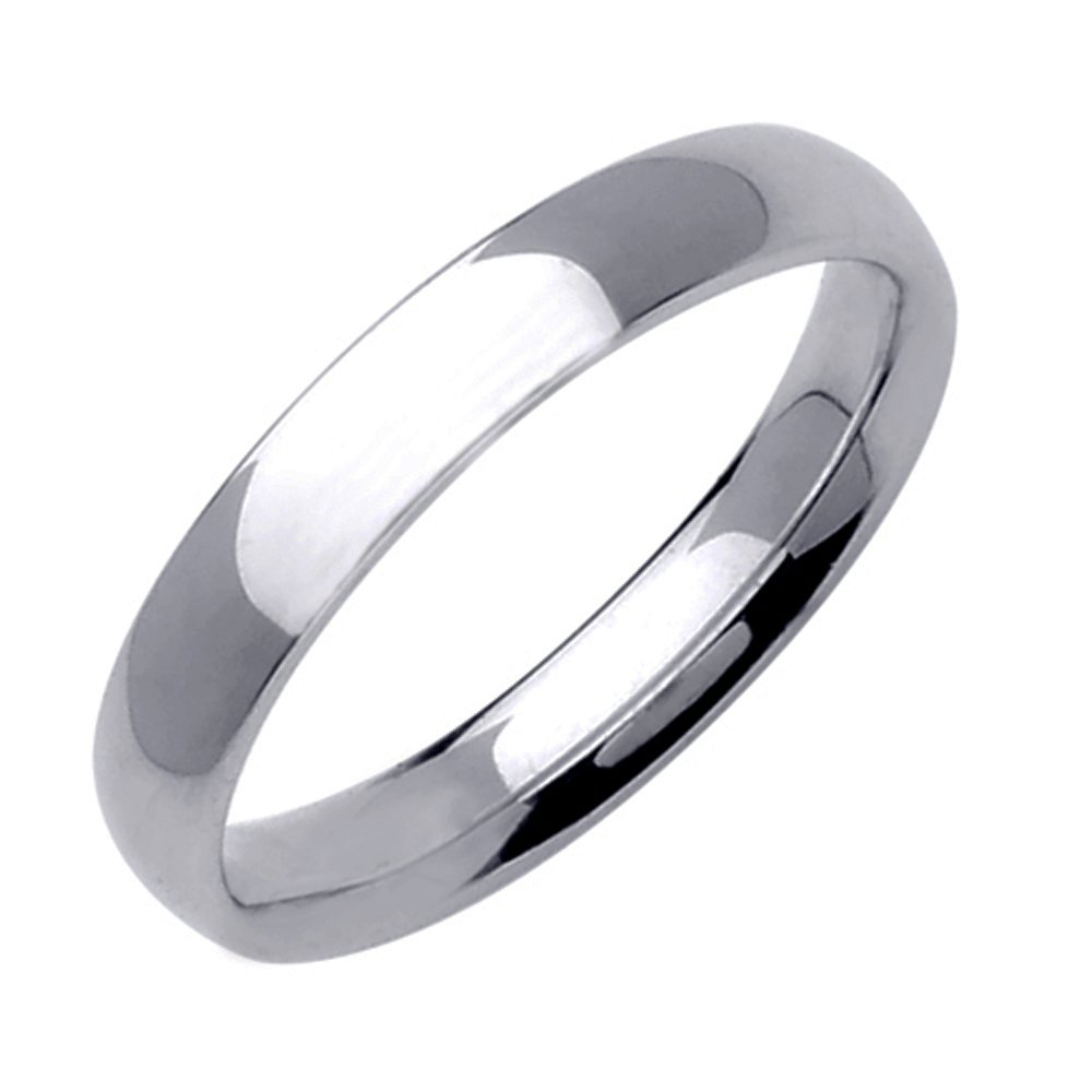 Gemini Dome Court Shape Silver Color Solid Titanium Couple Anniversary Wedding Ring 4mm