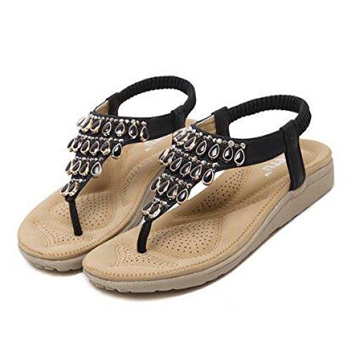 Black Sandales Plage Tongs Summer des Plates Style Tongs Femmes Chaussures Toe Bohème Hope Clip P0Oqdqw