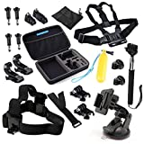 GoPro Accessories - VANDESAIL 20 in 1 Essential Bundle Kits with Shockproof Carry Case for GoPro 4 3+ 3 2 1 Black Silver Camera