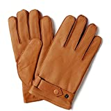 YISEVEN Men's Deerskin Leather Gloves with Classical Belt Button Real Natural Hand Warm Fur Wool Lined Heated Lining Winter Dress Driving Motorcycle Work Luxury Xmas Gift, Cognac 9.0''/Medium
