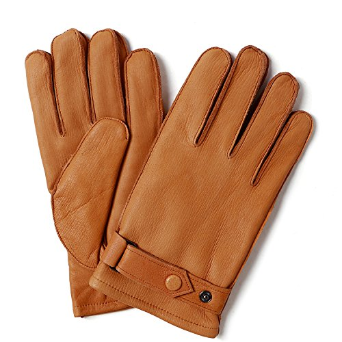 - YISEVEN Men's Deerskin Leather Gloves with Classical Belt Button Real Natural Hand Warm Fur Wool Lined Heated Lining Winter Dress Driving Motorcycle Work Luxury Xmas Gift, Cognac 9.0
