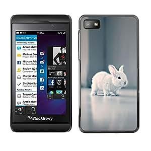 FECELL CITY // Duro Aluminio Pegatina PC Caso decorativo Funda Carcasa de Protección para Blackberry Z10 // Tiny Baby Rabbit White Hare Bunny Grey