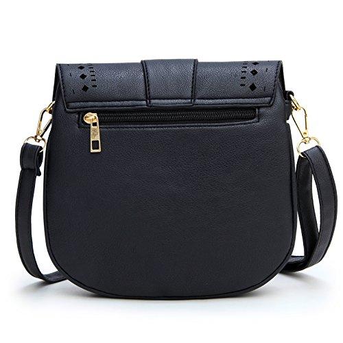 Bag Black Leather Crossbody Shoulder brown Women's Dccn Pu wnAEv0aTxq
