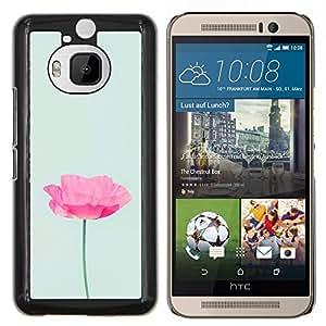 EJOOY---Cubierta de la caja de protección para la piel dura ** HTC One M9Plus M9+ M9 Plus ** --Flor minimalista Rosa Verde Luz