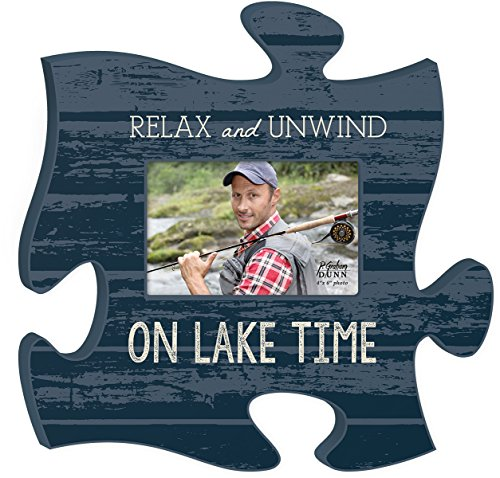 Relax And Unwind On Lake Time 4x6 Photo Frame Inspirational Puzzle Piece Wall Art Plaque