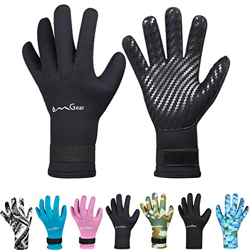 OMGear Neoprene Gloves for Snorkeling Diving Kayaking Surfing Spearfishing All Watersports (Black, L)