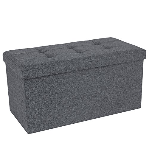 SONGMICS Storage Ottoman Bench, Chest with Lid, Foldable Seat, Bedroom, Hallway, Space-saving, 80L Capacity, Hold up to 660 lb, Padded, Dark Grey ULSF47K ()