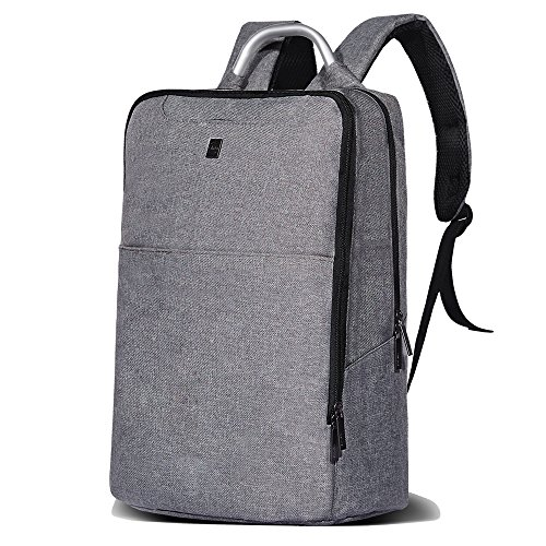 Cheston Slim Laptop Backpack, Travel Backpack with Metal Handle / Water Resistant College Backpack fits up to 15.6 Inch Macbook Pro (Grey)