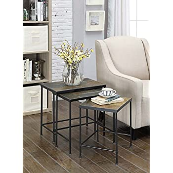 Amazoncom 4D Concepts 3Piece Nesting Tables with Slate Tops
