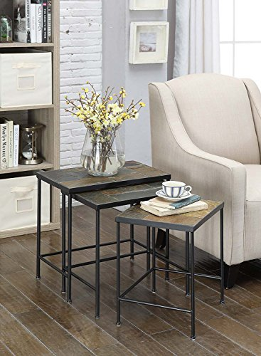 (4D Concepts 3-Piece Nesting Tables with Slate Tops, Metal/Slate)