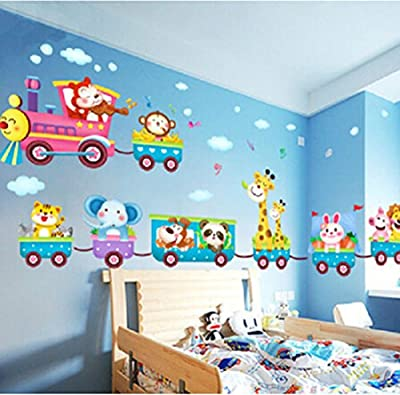 Baby Kids Safari Animals Train Wall Stickers Nursery Decor Art Mural Removable by LolliLook