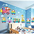 Baby Kids Safari Animals Train Wall Stickers Nursery Decor Art Mural Removable by LolliLook