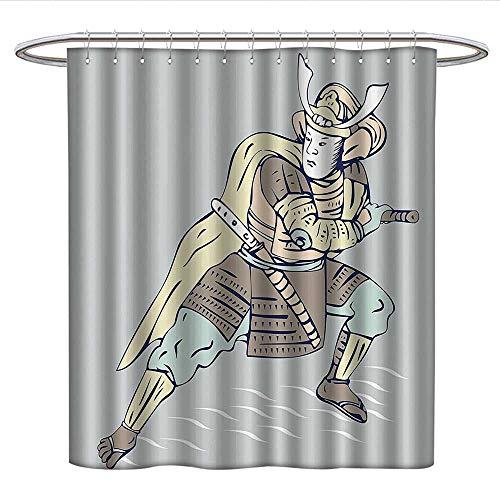 Japanesefunny Shower curtainSamurai Warrior Drawing Sword Asian Fighter Theme IllustrationPlastic Shower curtainBaby Blue Chocolate Baby Pink