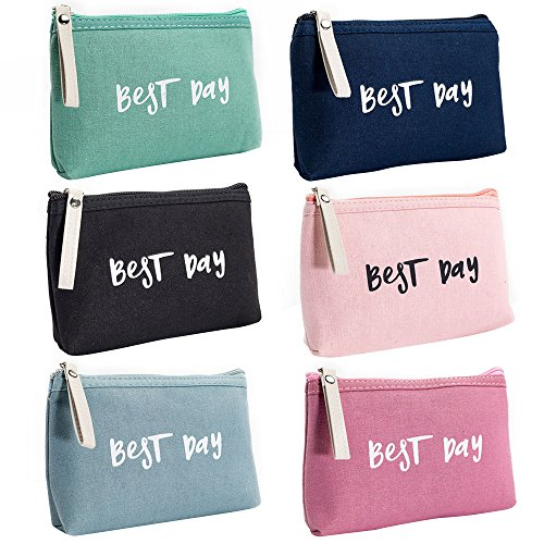 Aspire 6PCS Canvas Travel Cosmetic Bags (3-4 Colors),