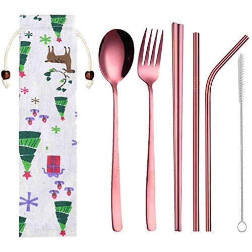 Kloiu96 Portable Cutlery Set, Travel Camping Tableware in Bulk, with Storage Bag, Reusable Stainless Steel Cutlery Set, Including Fork Spoon Straw Chopsticks Cleaning Brush and Cloth (Rose Gold)