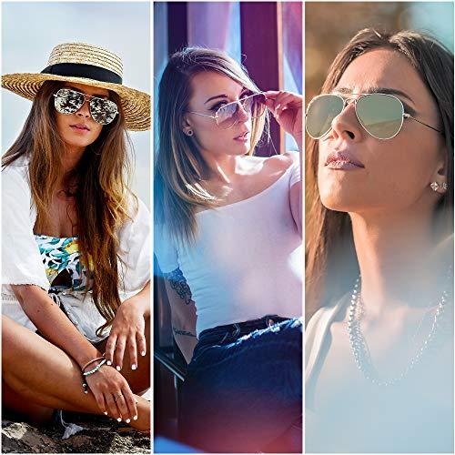 Aviator Sunglasses for Women, Designer Eyewear with Case, UV400 Protection, Non Polarized, Metal Frame, Eyewear for Driving Fishing Sports