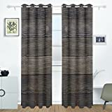 DEYYA Wood Curtains Drapes Panels Darkening Blackout Grommet Room Divider for Patio Window Sliding Glass Door 55x84 Inches,2 Panels