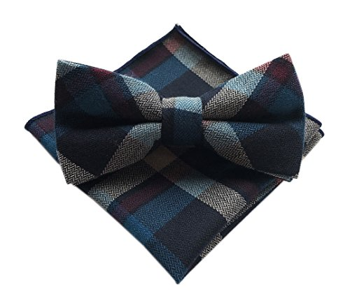 Elfeves Men's Navy Blue Brown Multicolored Jacquard Ascot Shirts Bow Ties Set ()