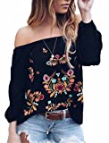 Women Vintage Off Shoulder Top Summer Boho Floral Embroidery Long Sleeve Blouse T-Shirt Size 2XL(US18-20) (Black)