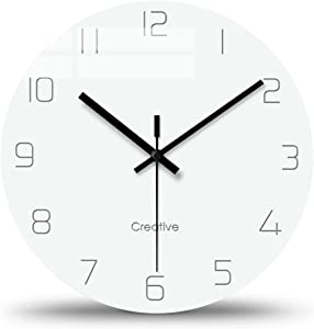 FlorLife Unique Vintage Wall Clock, Home Decorative Silent Non-Ticking Quartz Battery Operated Modern Glass Clock for Bedroom/Living Room/Office/School 12 Inch - White